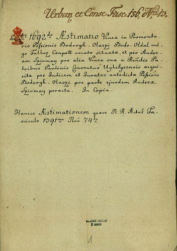 HU MNL OL E 156 - a. - Fasc. 156. - No. 013.