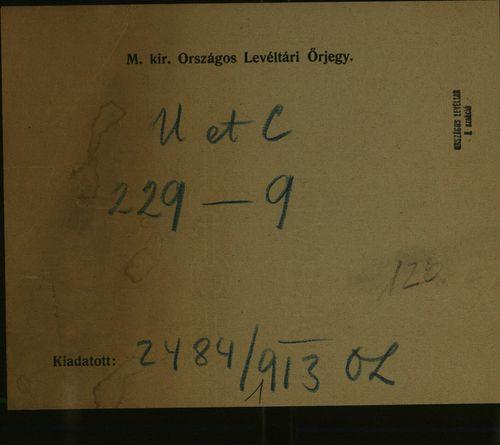 HU MNL OL E 156 - a. - Fasc. 229. - No. 009.