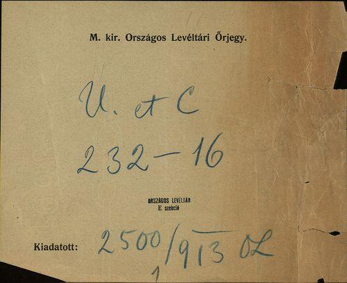 HU MNL OL E 156 - a. - Fasc. 232. - No. 016.