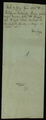 HU MNL OL E 156 - a. - Fasc. 233. - No. 001.