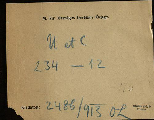 HU MNL OL E 156 - a. - Fasc. 234. - No. 012.