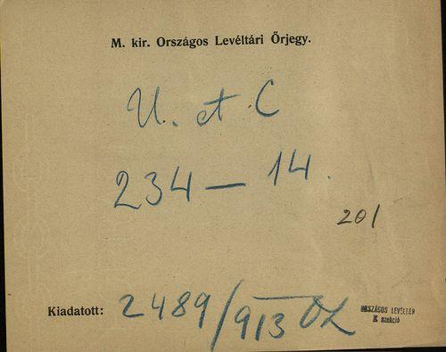 HU MNL OL E 156 - a. - Fasc. 234. - No. 014.