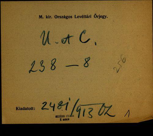 HU MNL OL E 156 - a. - Fasc. 238. - No. 008.